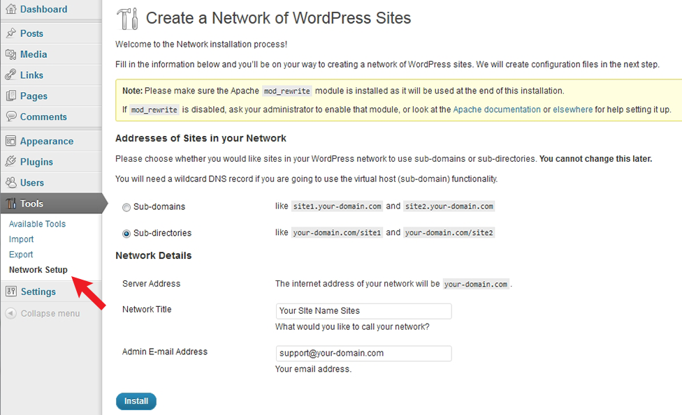 Setup page for Creating a Network of Sites